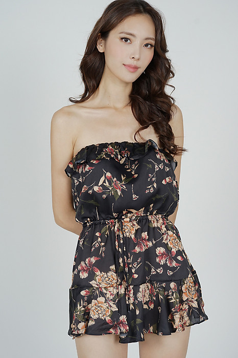 Skira Tube Romper in Black Floral - Online Exclusive
