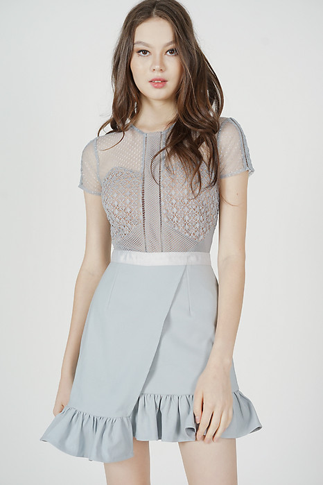 Adele Lace Dress in Ash Blue - Arriving Soon