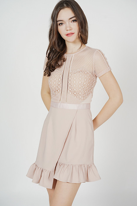 Adele Lace Dress in Pink