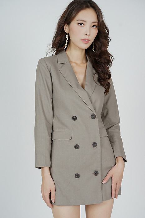Airo Buttoned Blazer Dress in Khaki - Arriving Soon