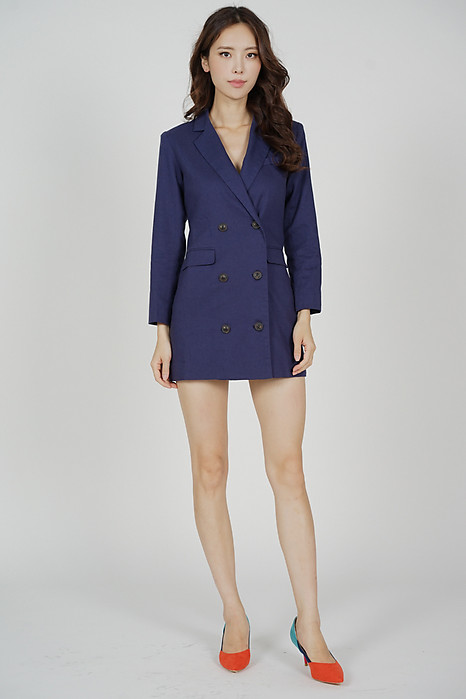 Airo Buttoned Blazer Dress in Navy