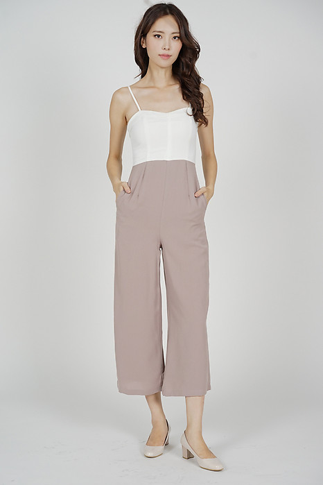 Madeline Wide Leg Jumpsuit in White Pink - Arriving Soon