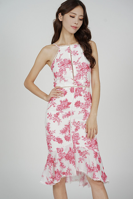 Kisha Flare-Hem Dress in White Pink Floral - Arriving Soon