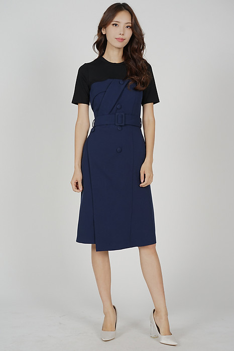 Miriza Contrast Dress in Midnight - Arriving Soon