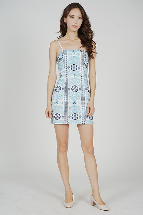 Perrie Mini Dress in Blue - Arriving Soon