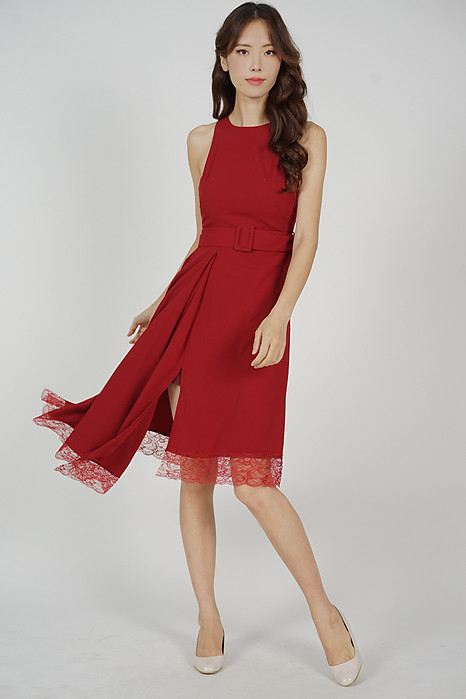 Alexei Asymmetrical Dress in Red - Arriving Soon
