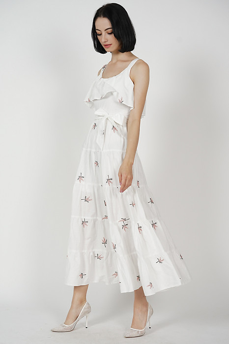 Walnya Overlay Tiered Dress in White Floral