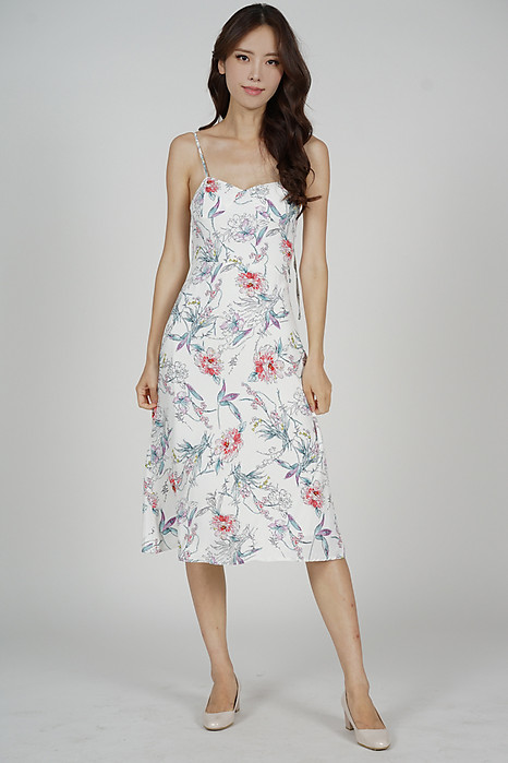 Dinaz Midi Dress in White Floral - Arriving Soon