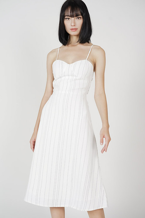 Dinaz Midi Dress in White Stripes