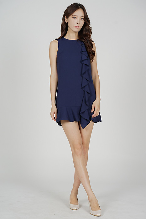 Kleria Ruffled Dress in Navy