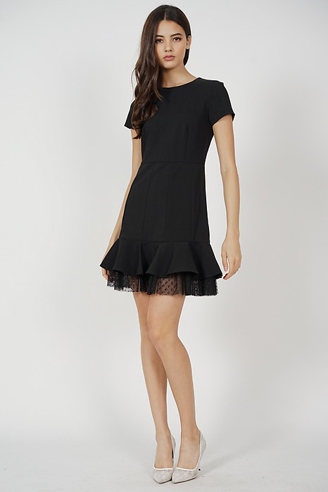 Tulsa Ruffled-Hem Dress in Black - Arriving Soon