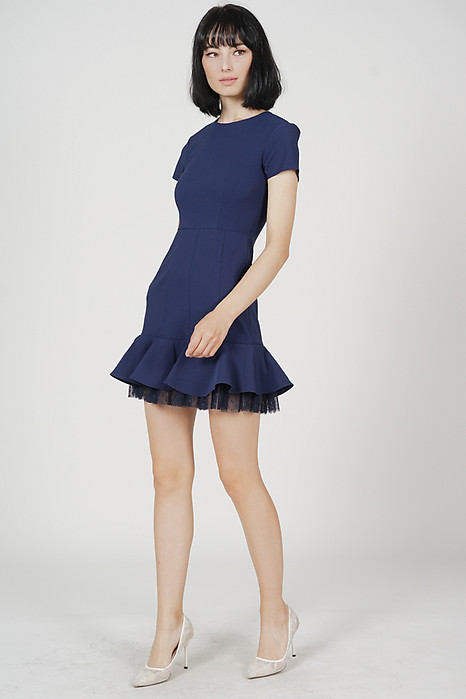 Tulsa Ruffled-Hem Dress in Midnight - Arriving Soon