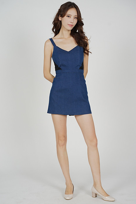 Mackenzie Lace-Trimmed Skorts Romper in Dark Blue