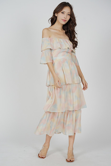 Prixie Tiered Dress in Multi Pastel