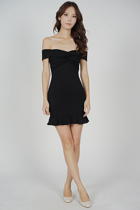 Verna Overlay Ruffled-Hem Dress in Black - Arriving Soon