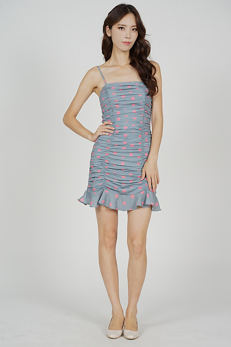 Awdin Ruched Dress in Blue Polka Dots - Arriving Soon