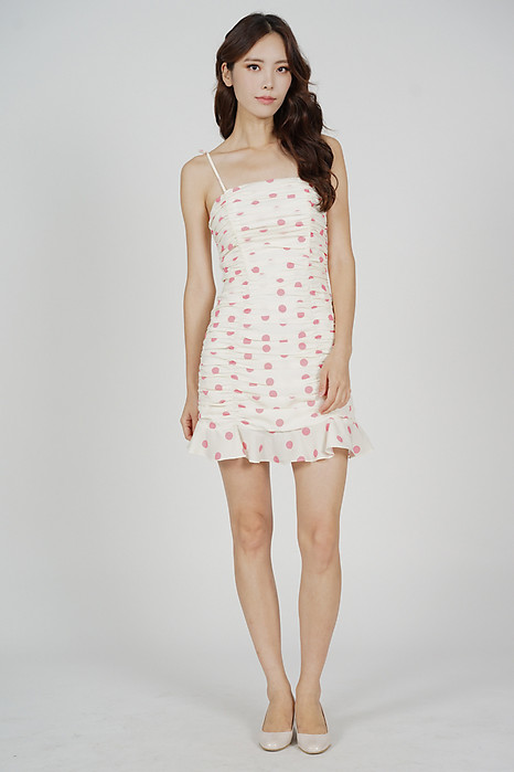 Awdin Ruched Dress in Cream Polka Dots - Arriving Soon