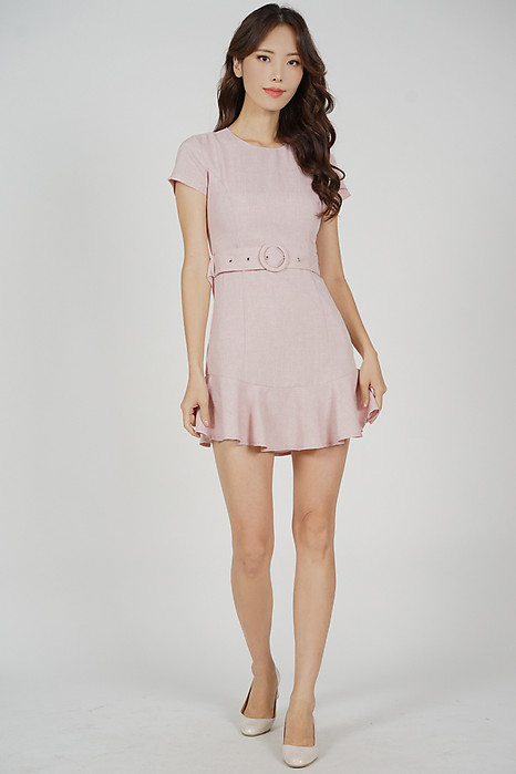 Rebbie Ruffled-Hem Dress in Pink