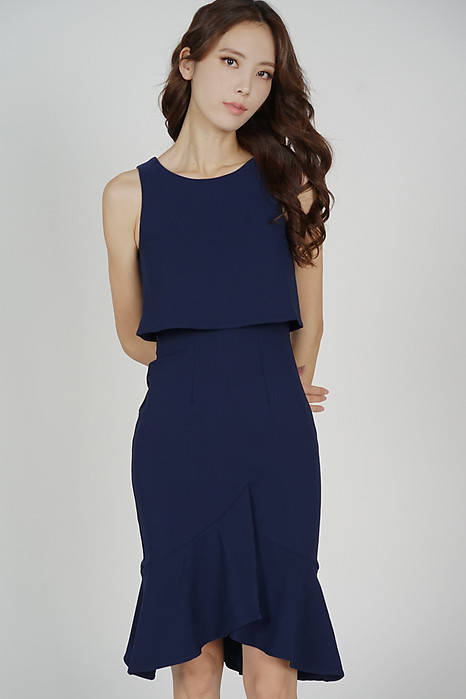 Leorin Overlay Dress in Midnight - Arriving Soon