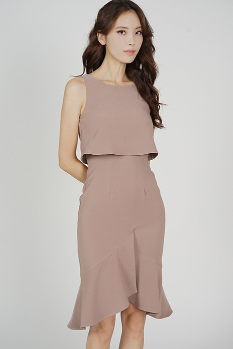 Leorin Overlay Dress in Taupe - Arriving Soon