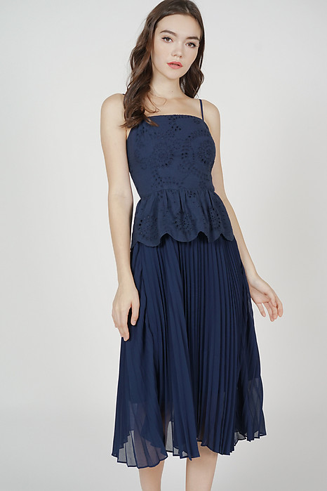 Skye Eyelet Pleated Dress in Midnight - Arriving Soon