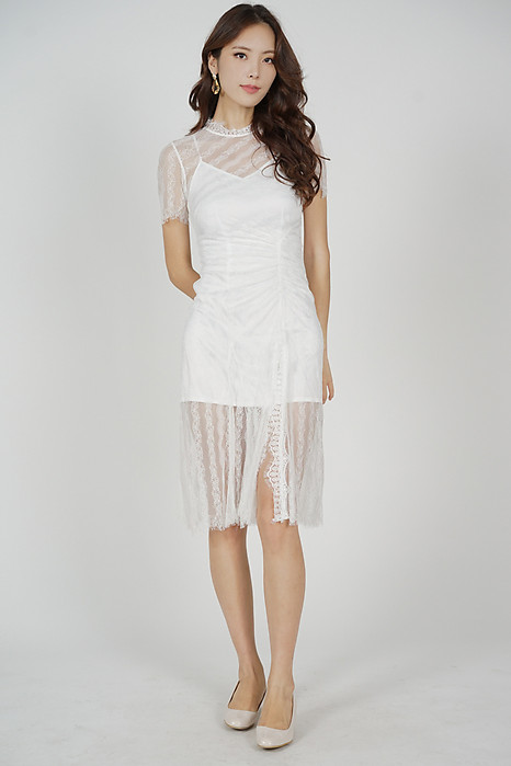 Norea Ruched Lace Dress in White - Arriving Soon