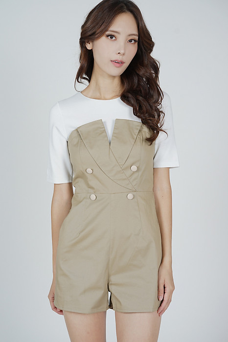 Narsha Sleeved Romper in Khaki