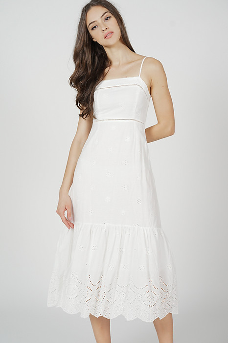 Denia Cami Dress in White - Online Exclusive