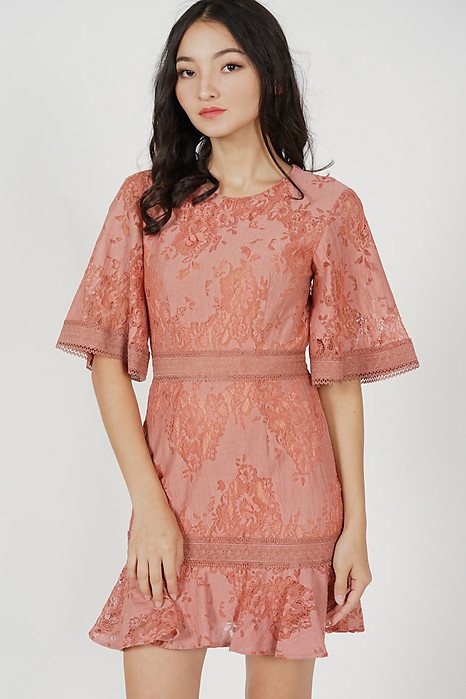 Kashla Lace Dress in Chestnut