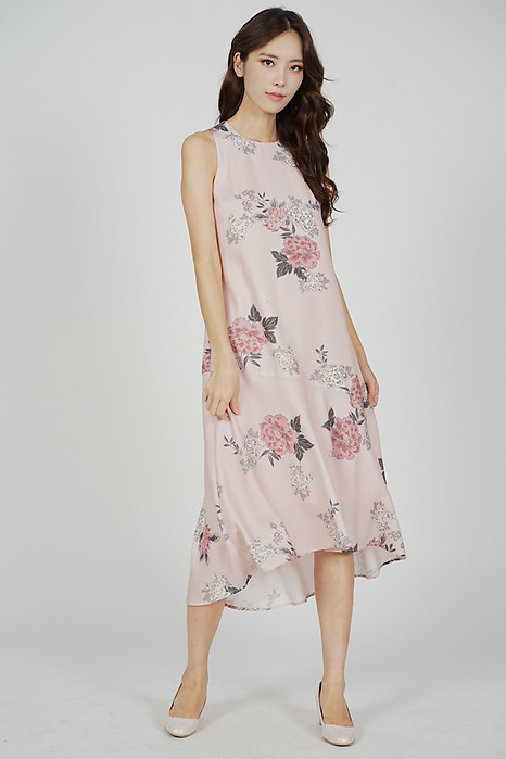 Olzie Flare-Hem Dress in Pink Floral - Arriving Soon