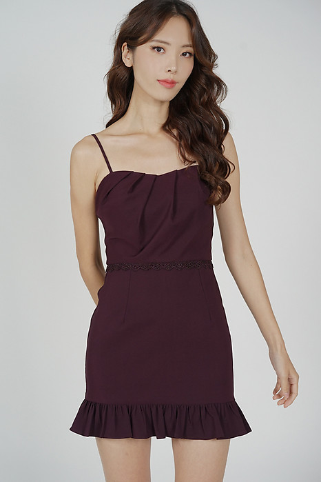 Zarie Ruffled-Hem Skorts Romper in Wine