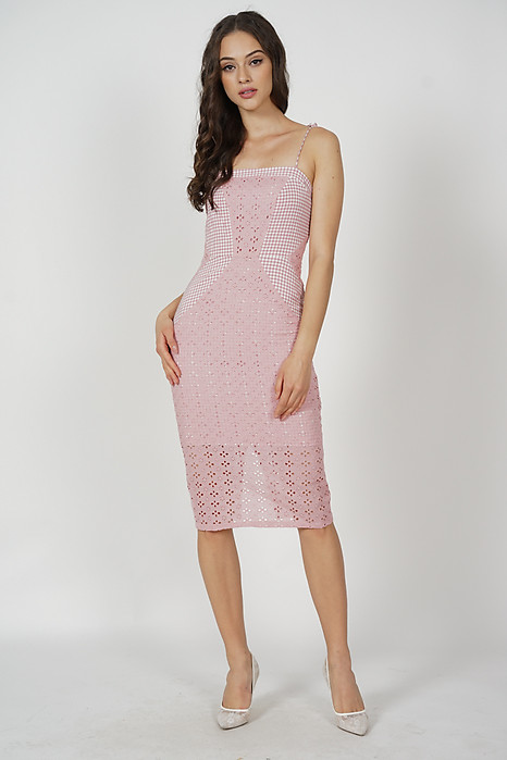 Lenka Eyelet Dress in Pink Gingham