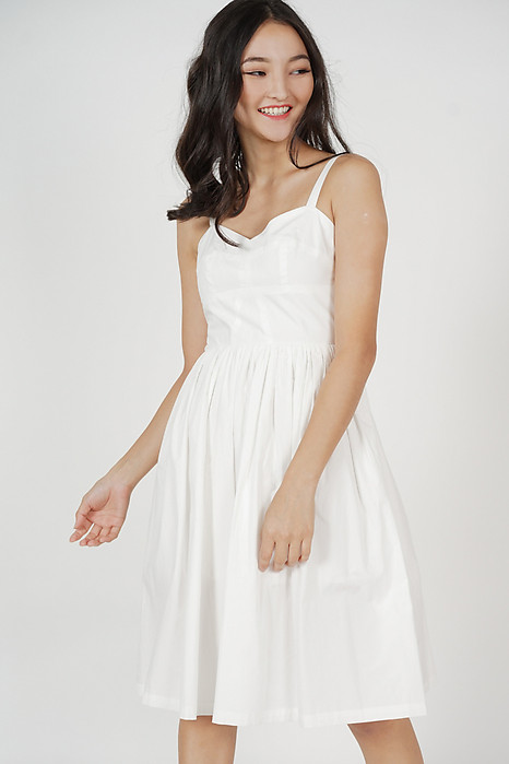 Haru Gathered Dress in White
