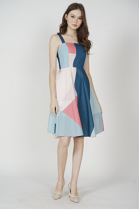Kazan Geometric Flared Dress in Blue