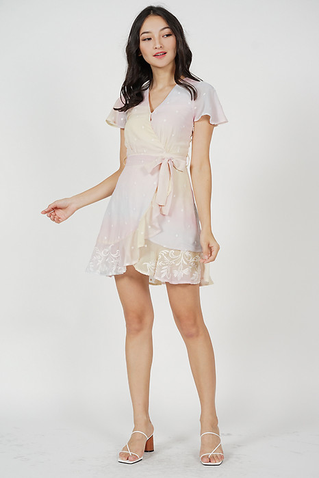 Kristel Ruffled Dress in Pastel Ombre - Arriving Soon