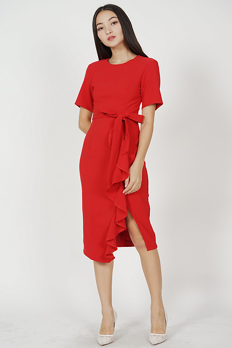 Aldos Ruffled Dress in Red - Arriving Soon