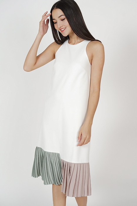 Darlton Pleated-Hem Dress in White - Arriving Soon