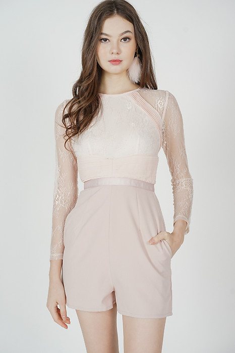 Jessie Lace Romper in Pink - Arriving Soon