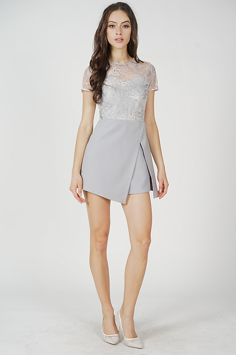 Zarin Mesh Romper in Light Grey - Arriving Soon