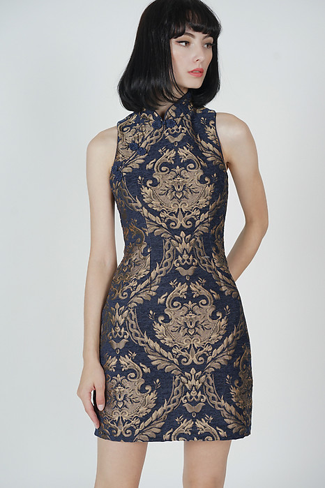 Kara Cheongsam Dress in Midnight Gold