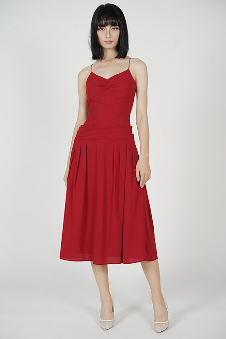 Beckie Ruched Dress in Red