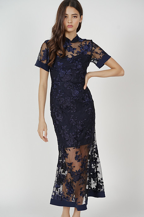 Varla Sheer Dress in Midnight