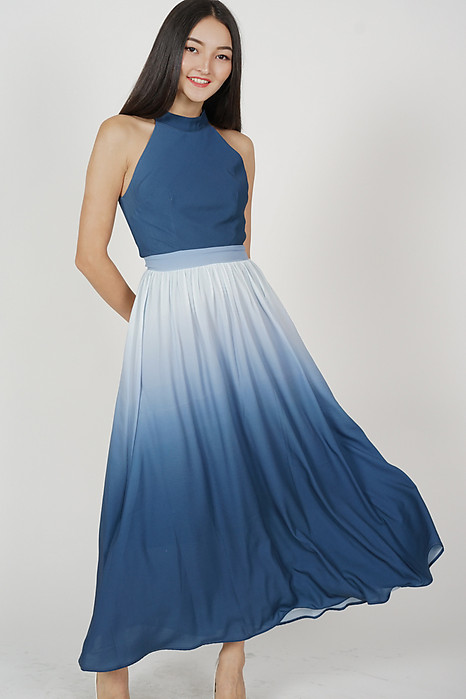 Dandel Maxi Halter Dress in Blue Ombre