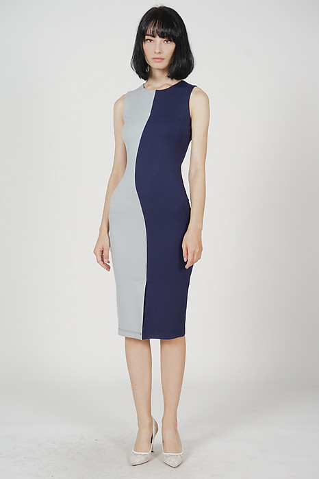 Torie Contrast Dress in Grey Midnight - Arriving Soon