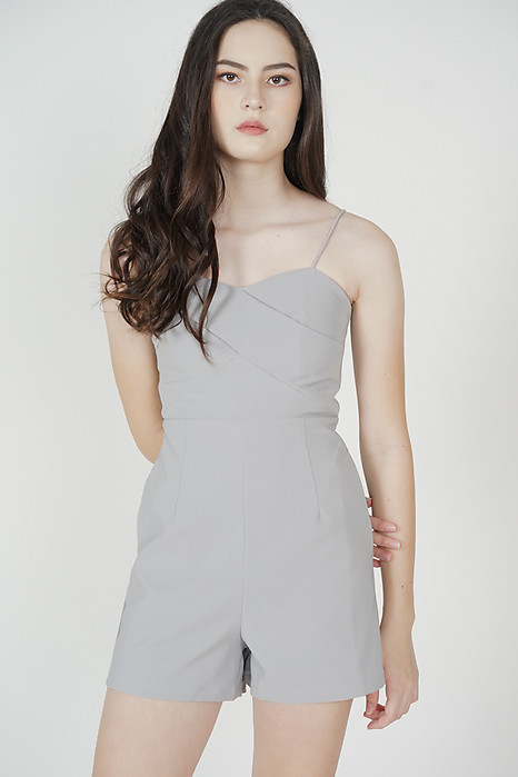 Honah Cami Romper in Ash Blue - Arriving Soon