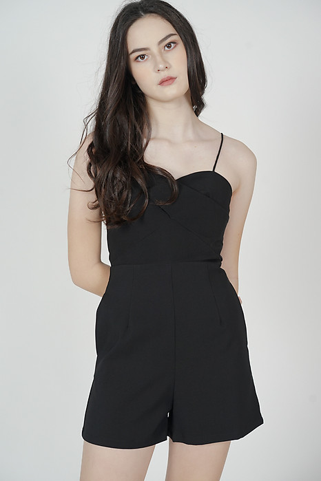 Honah Cami Romper in Black - Arriving Soon