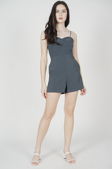Honah Cami Romper in Dark Grey - Arriving Soon
