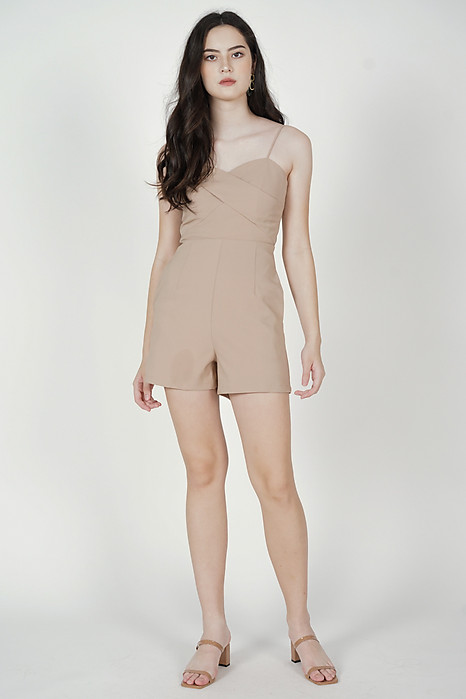 Honah Cami Romper in Khaki - Arriving Soon