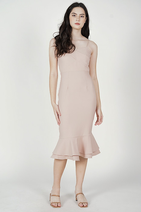 Stella Ruffled-Hem Dress in Blush - Arriving Soon