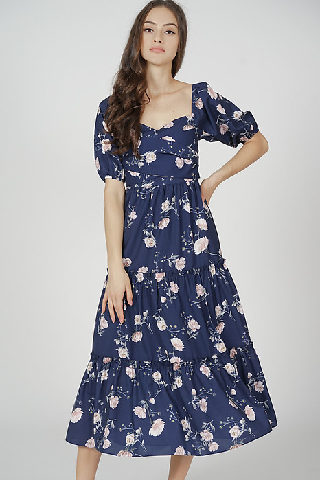 Lucinda Gathered Dress in Midnight Porcelain Bloom